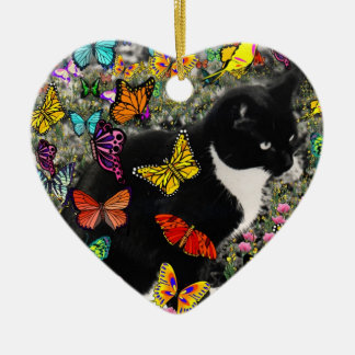 Freckles in Butterflies - Tuxedo Kitty Ceramic Ornament