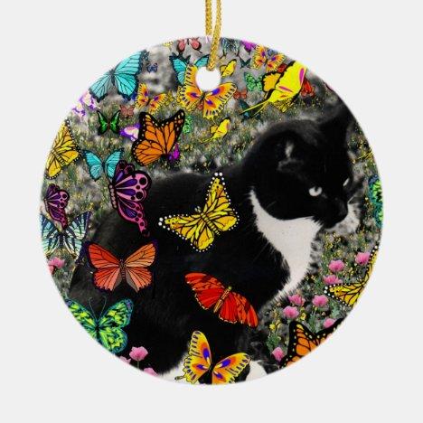 Freckles in Butterflies - Tuxedo Kitty Ceramic Ornament