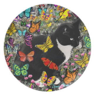 Freckles in Butterflies - Tuxedo Kitty Dinner Plate