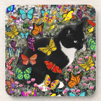 Freckles in Butterflies - Tuxedo Kitty Drink Coaster