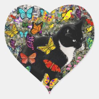 Freckles in Butterflies - Tuxedo Kitty Heart Sticker
