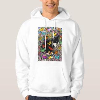 Freckles in Butterflies - Tuxedo Kitty Hooded Sweatshirt