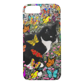 Freckles in Butterflies - Tuxedo Kitty iPhone 7 Case