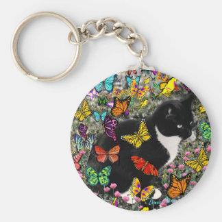 Freckles in Butterflies - Tuxedo Kitty Keychains