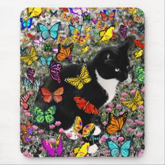 Freckles in Butterflies - Tuxedo Kitty Mousepads