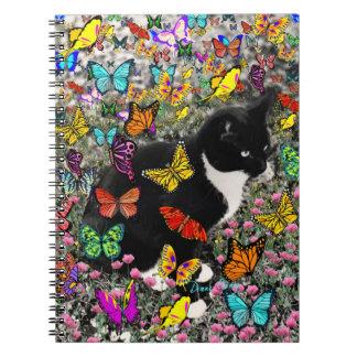 Freckles in Butterflies - Tuxedo Kitty Notebook