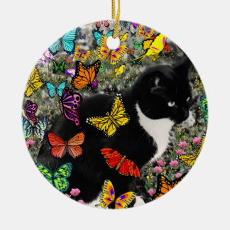 Freckles in Butterflies - Tuxedo Kitty Double-Sided Ceramic Round Christmas Ornament