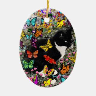 Freckles in Butterflies - Tuxedo Kitty Christmas Ornament