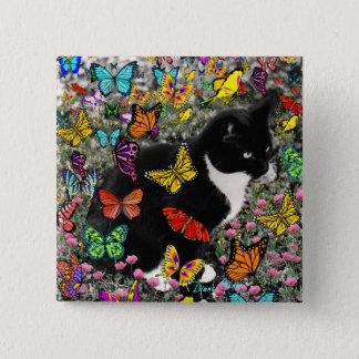 Freckles in Butterflies - Tuxedo Kitty Pinback Button