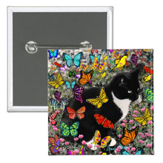 Freckles in Butterflies - Tuxedo Kitty Pinback Button