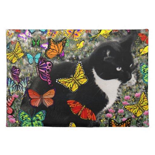 Freckles in Butterflies - Tuxedo Kitty Cloth Place Mat