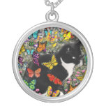 Freckles in Butterflies - Tuxedo Kitty Round Pendant Necklace