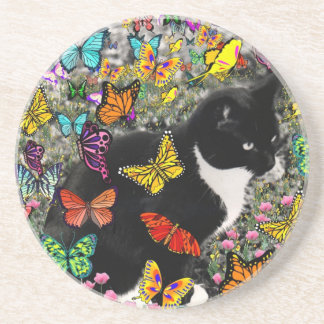 Freckles in Butterflies - Tuxedo Kitty Sandstone Coaster