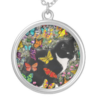 Freckles in Butterflies - Tuxedo Kitty Silver Plated Necklace