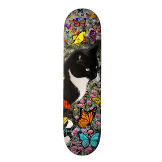Freckles in Butterflies - Tuxedo Kitty Skate Board