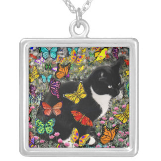 Freckles in Butterflies - Tuxedo Kitty Square Pendant Necklace