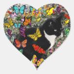 Freckles in Butterflies - Tuxedo Kitty Sticker