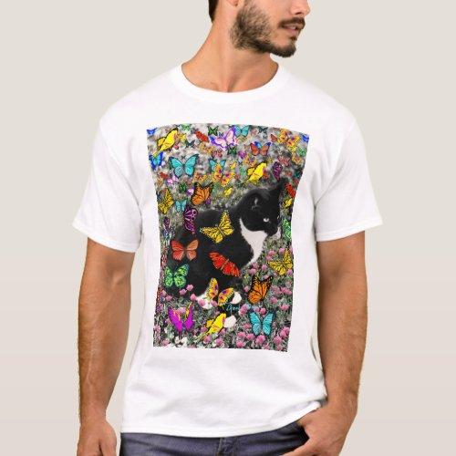 Freckles in Butterflies - Tuxedo Kitty T-Shirt