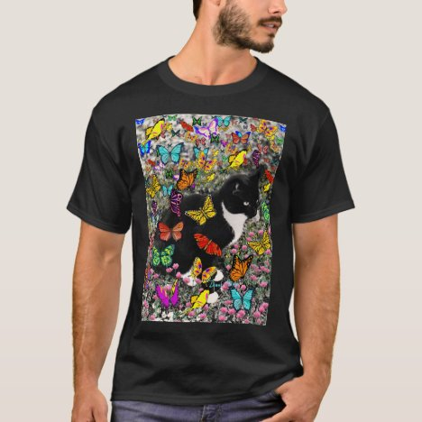 Freckles in Butterflies - Tuxedo Kitty T-Shirt