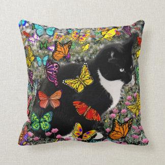 Freckles in Butterflies - Tuxedo Kitty Throw Pillow