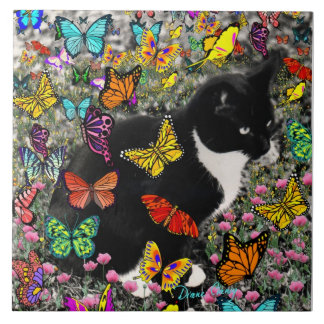 Freckles in Butterflies - Tuxedo Kitty Tile