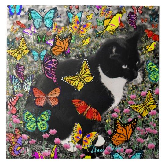 Freckles in Butterflies - Tuxedo Kitty Tile