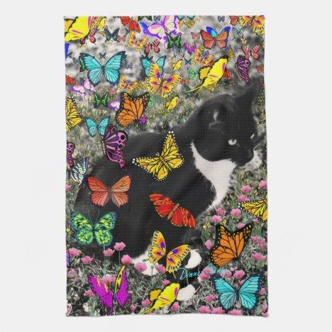 Freckles in Butterflies - Tuxedo Kitty Towel