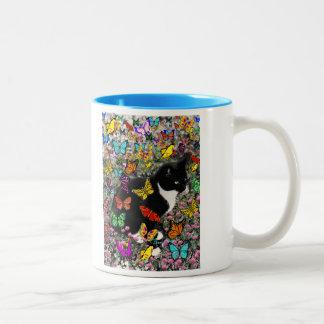 Freckles in Butterflies - Tuxedo Kitty Two-Tone Coffee Mug