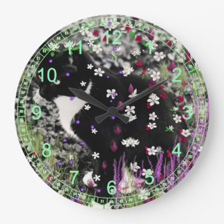 Freckles in Flowers I - Black and White Cat Large Clock