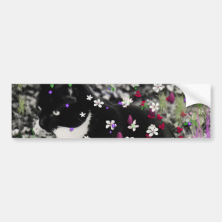 Freckles in Flowers I - Black and White Tux Cat Car Bumper Sticker