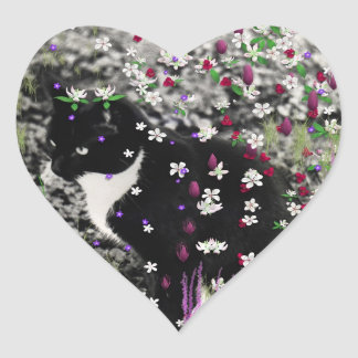Freckles in Flowers I - Black and White Tux Cat Heart Sticker