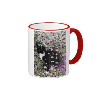 Freckles in Flowers I - Black and White Tux Cat Ringer Mug