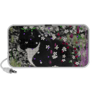 Freckles in Flowers I - Black and White Tux Cat Notebook Speakers