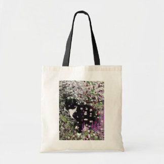 Freckles in Flowers I - Black and White Tux Kitty Canvas Bag