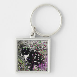 Freckles in Flowers I - Black and White Tux Kitty Key Chain