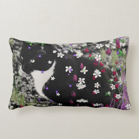 Freckles in Flowers I - Black and White Tux Kitty Lumbar Pillow