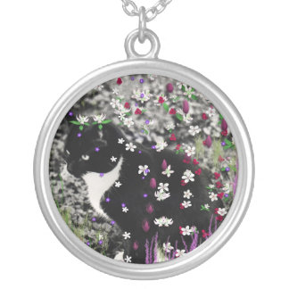 Freckles in Flowers I - Black and White Tux Kitty Silver Plated Necklace