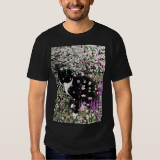 Freckles in Flowers I - Black and White Tux Kitty T Shirt