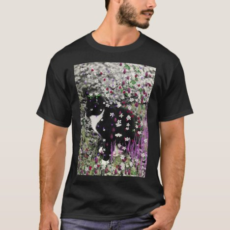 Freckles in Flowers I - Black and White Tux Kitty T-Shirt