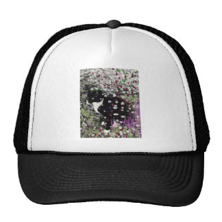 Freckles in Flowers I - Black and White Tux Kitty Trucker Hat