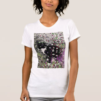 Freckles in Flowers I - Black and White Tux Kitty Tee Shirt