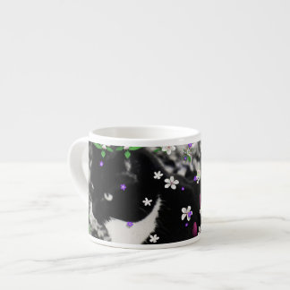Freckles in Flowers I - Black and White Tuxedo Cat Espresso Cup