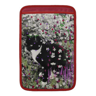 Freckles in Flowers I - Black and White Tuxedo Cat MacBook Sleeve