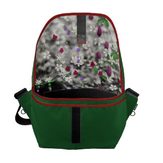 Freckles in Flowers I - Black and White Tuxedo Cat Messenger Bags