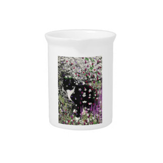 Freckles in Flowers I - Black and White Tuxedo Cat Pitcher