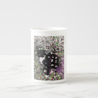 Freckles in Flowers I - Black and White Tuxedo Cat Tea Cup