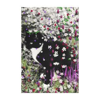Freckles in Flowers I - Black White Tuxedo Kitty Canvas Print