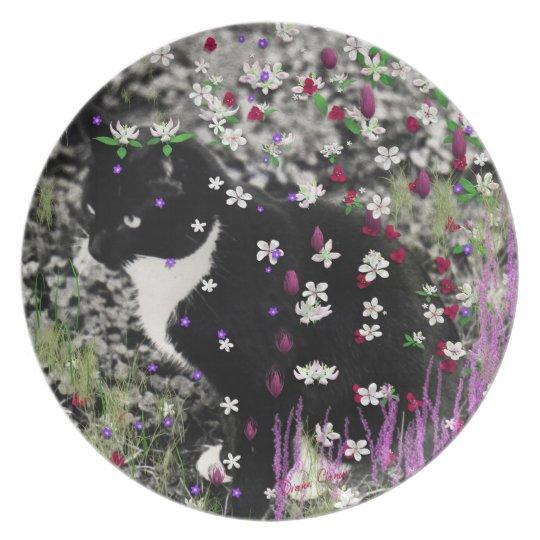Freckles in Flowers I - Black White Tuxedo Kitty Dinner Plate
