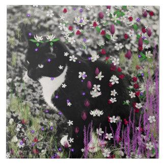Freckles in Flowers I - Black White Tuxedo Kitty Ceramic Tile
