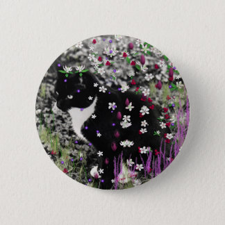 Freckles in Flowers I - Tux Cat Button